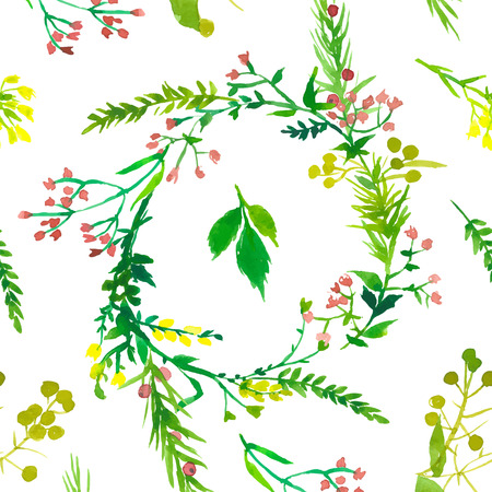 Wedding floral watercolor seamless pattern Vector