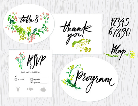 Wedding cards set. Tables sign, thank you card, Program, Numbers, RSVP and Map Vector