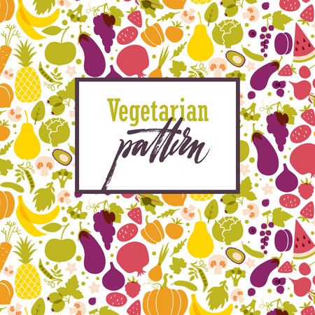 apples and oranges: Fruit and vegetable rainbow pattern Illustration