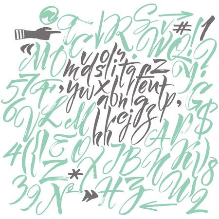 tipos de letras: El alfabeto del. Dibujado a mano las letras. Las letras del alfabeto escritas con un cepillo