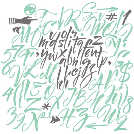 Vector alphabet. Hand drawn letters. Letters of the alphabet written with a brush Illustration