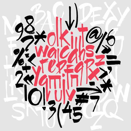 tipos de letras: Completar las letras del alfabeto conjunto: mayúsculas, minúsculas, números y puntuacion. Letras agresivas brillantes. El alfabeto del. Dibujado a mano las letras. Las letras del alfabeto escritas con un cepillo
