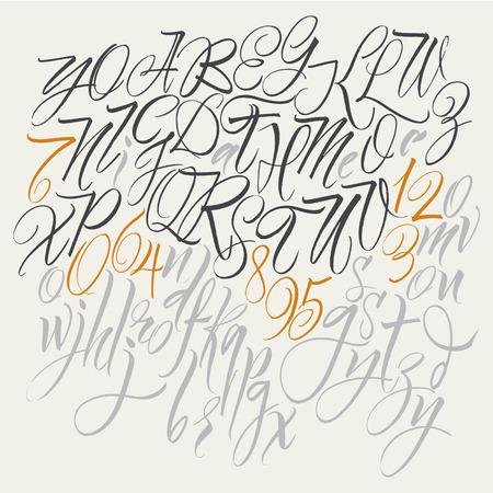 アルファベット: 大文字、小文字、数字。エレガントな文章。ベクトルのアルファベット。手描き文字。筆で書かれたアルファベットの文字