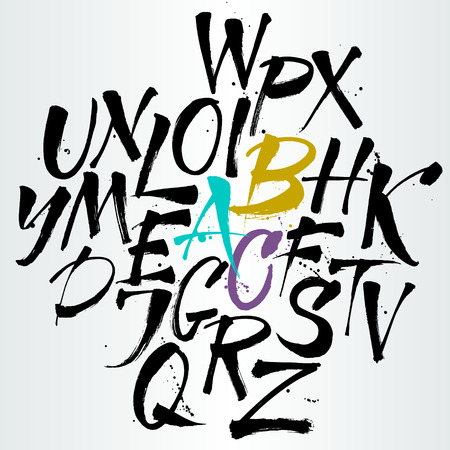 tipos de letras: Las letras del alfabeto: may�sculas. La escritura expresiva. El alfabeto del. Dibujado a mano las letras. Las letras del alfabeto escrito con un pincel chino Vectores