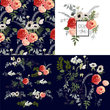 vintage background: Set of pattern, bouquets and flowers Illustration