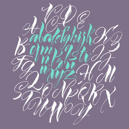 script: Alphabet letters: uppercase, lowercase. Vector alphabet. Hand drawn letters written with a paint brush. Illustration