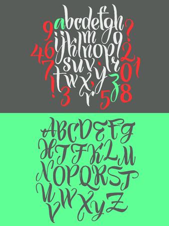 alphabet graffiti: Las letras del alfabeto: may�sculas, min�sculas, n�meros. El alfabeto del. Dibujado a mano cartas escritas con un pincel. Vectores