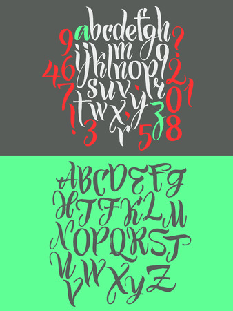 Alphabet letters: uppercase, lowercase, numbers. Vector alphabet. Hand drawn letters written with a paint brush. Illustration