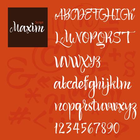 tipos de letras: Vector del alfabeto moderno. ABC pintado Letras. Rotulaci�n cepillado moderno. Pintado Alfabeto
