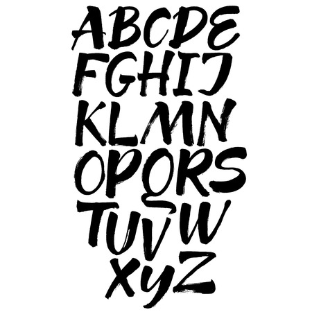 Letters of the alphabet written with a brush.  イラスト・ベクター素材
