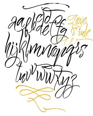 abecedario: Alfabeto vector. Dibujado a mano las letras. Cartas escritas a mano del alfabeto