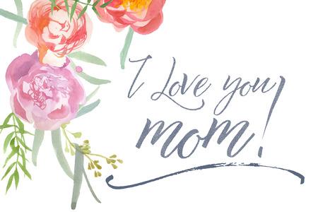 水彩牡丹と書道と幸せ Mother39s 日カード。私はママを大好きです。