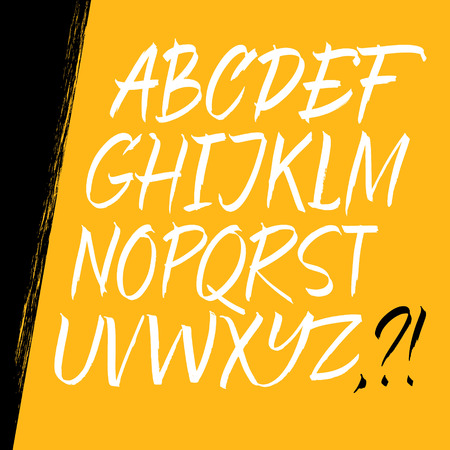hand writing: Alphabet letters: uppercase. Expressive writing. Vector alphabet. Hand drawn letters.