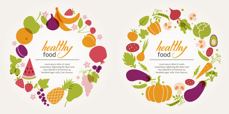 diabetes food: Fruit and vegetable decorative frames to design a menu. Healthy diet, vegetarian and vegan