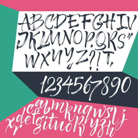 alphabet graffiti:   Hand drawn letters. Letters of the alphabet written with a brush.