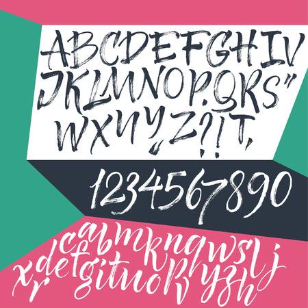 fond de texte: Main lettres tirées. Les lettres de l'alphabet écrit avec un pinceau. Illustration