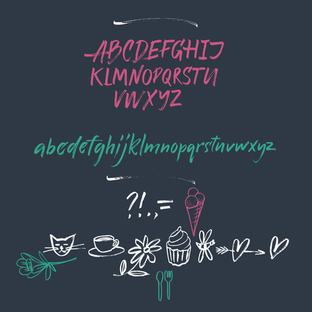 expressive style: Vector alphabet. Hand drawn letters. Letters of the alphabet written with a brush.