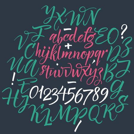 tipos de letras: El alfabeto del. Dibujado a mano las letras. Las letras del alfabeto escrito con un cepillo.