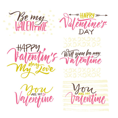 postcard design: Valentines day design elements. Calligraphy postcard or poster graphic design lettering element.