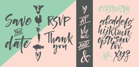 rsvp: alphabet.  letters. Letters of the alphabet written with a brush. Wedding invitation set, RSVP, menu options, thank you card