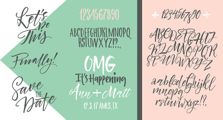 heard: Vector alphabet. Hand drawn letters. Letters of the alphabet written with a brush. Wedding invitation set, RSVP, menu options, thank you card Illustration