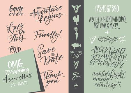 Vector alfabeto. lettere disegnato a mano. Le lettere dell'alfabeto scritto con un pennello. Wedding set invito, RSVP, opzioni di menu, grazie carta