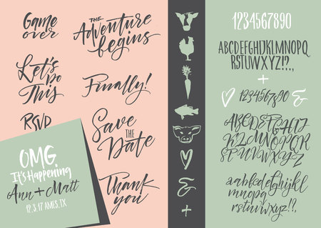 Vector alphabet. Hand drawn letters. Letters of the alphabet written with a brush. Wedding invitation set, RSVP, menu options, thank you card Ilustração