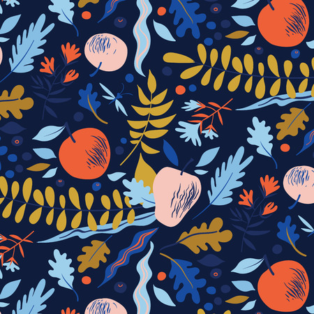 fructose: Autumn pattern with leaves, berries, flowers and apples. Good for package for juice, cosmetics or menu design
