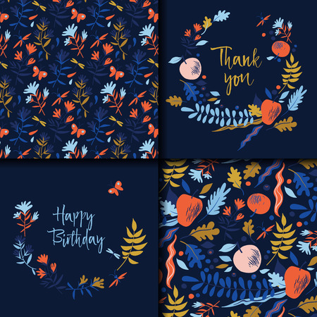 Autumn pattern with leaves, berries, flowers and apples. Wedding or Birthday invitation