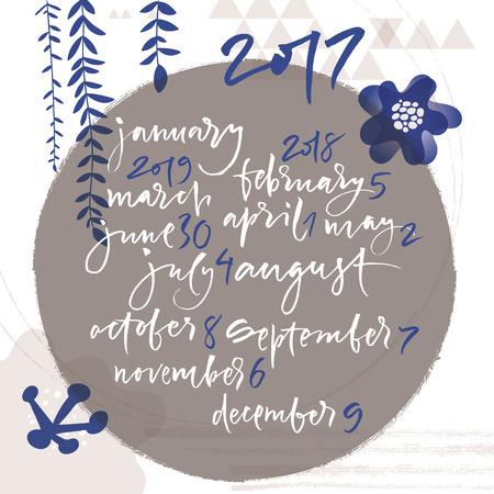 meses del año: Título de meses del año. Números del 0 al 9. Calendario