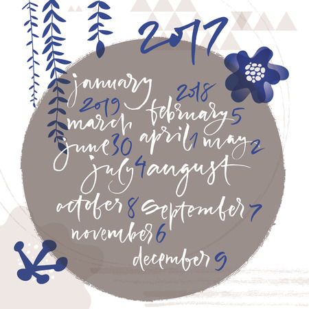 meses del año: Title of months of the year. Numbers from 0 to 9. Calendar