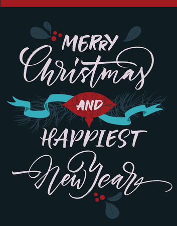 happy new year: Merry Christmas and happiest New Year greeting card with Christmas decorations.