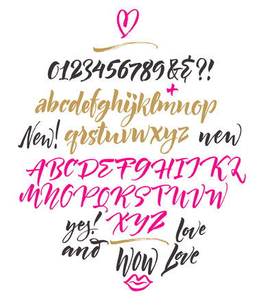 Handwritten script font. Brush font. Uppercase, lowercase, numbers, punctuation Illustration