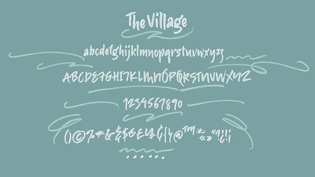 vintage banner: Handwritten script font. Brush font. Uppercase, lowercase, numbers, punctuation Illustration