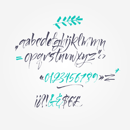 Alphabet letters: lowercase, numbers. Vector alphabet. Hand drawn let