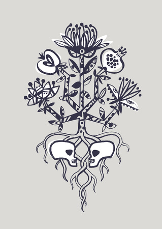 The tree of life. Life and death, lovers sculls Illustration