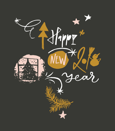 Happy New 2018 Year funny greeting card Illustration