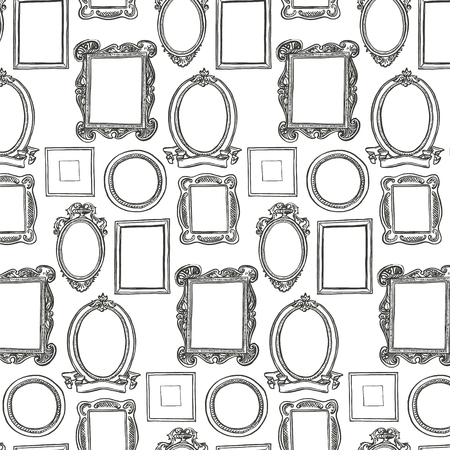 Rococo frames pattern. Black and white wallpaper