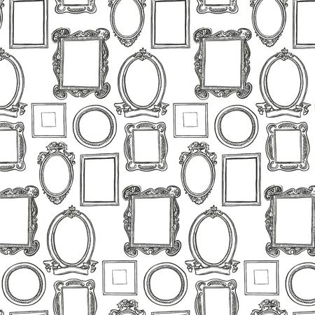 Rococo frames patroon. Zwart en wit behang Stock Illustratie