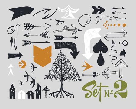 Set of various typographic arrows.