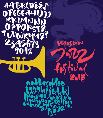 Jazz improvisation festival poster. Expressive calligraphic script with alternative characters