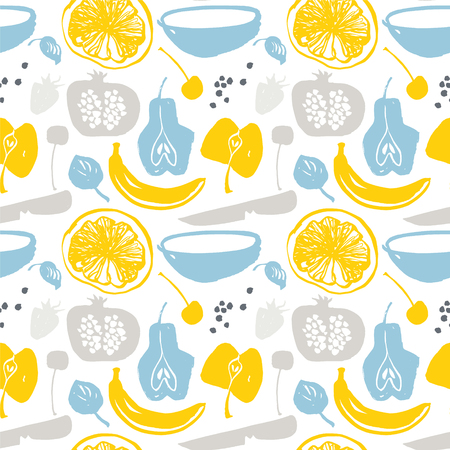 Fruit silhouettes pattern in blue color.  イラスト・ベクター素材