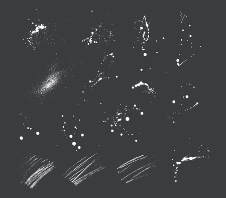 15 expressive Ink blots and pencil strokes.  イラスト・ベクター素材
