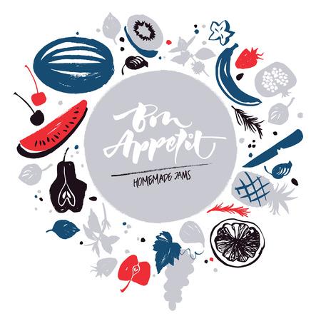 Jam labels template. Fruit silhouettes. Bon appetite lettering
