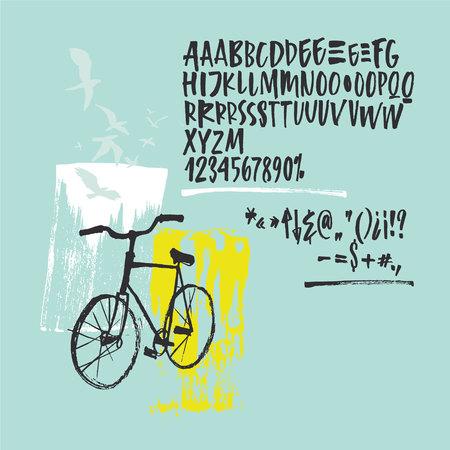 Handwritten script font. Brush font. Uppercase, numbers, punctuation Illustration