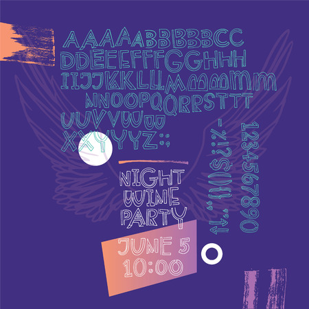 Night wine party poster. Expressive geometric naughty script with alternative letters