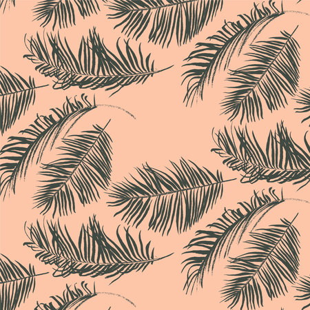 Green palm leaves pattern on pink background