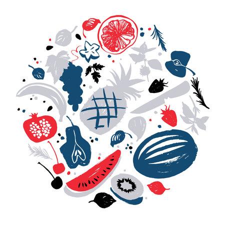 Jam labels template. Fruit silhouettes. Bon appetite Illustration