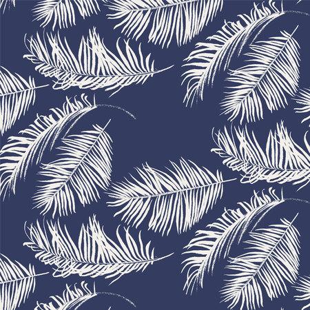 White palm leaves pattern on blue background Illustration