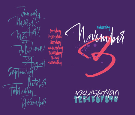 Titles of months of the year. Numbers from 0 to 9. Days of the week. Lettering. Illustration
